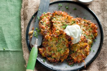 Pumpkin, Zucchini and Halloumi Fritters